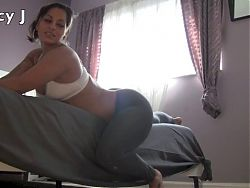 Spicy J rips her yoga pants to fuck herself