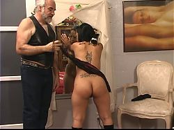 Ponytailed dude whips roped latina's tattooed ass