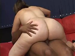 Fat BBW Latina GF sucking and riding her black Bf's cock