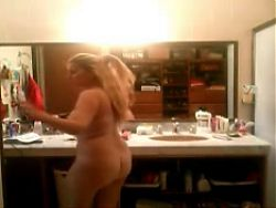 Mexican Blonde Wife in Bathroom