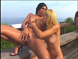 Two sexy lesbian sluts with great asses foll round oustide