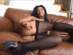Busty latina takes cum in her ass