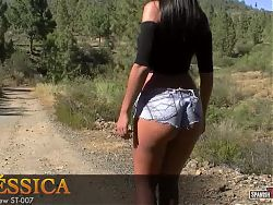 Spanish brunette with an outstanding ass in mini-jeanshorts