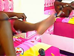 Sensual busty black colombian hottie toying her pink pussy