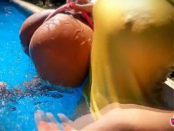 Busty Pair Of Lesbian Teens! Amazing Asses At The Pool!